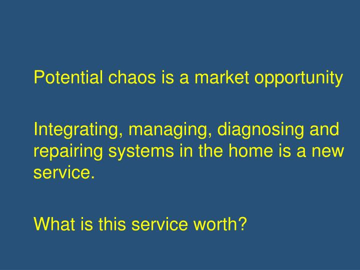 Potential chaos is a market opportunity