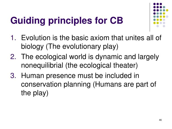 Guiding principles for CB