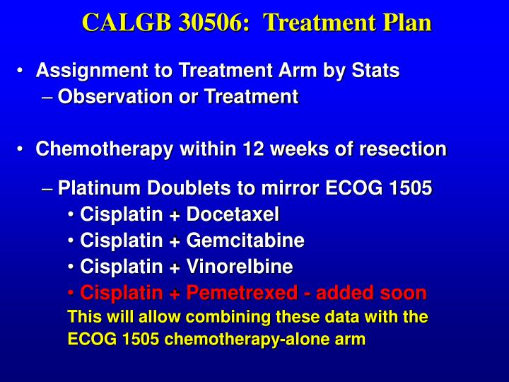 CALGB 30506:  Treatment Plan