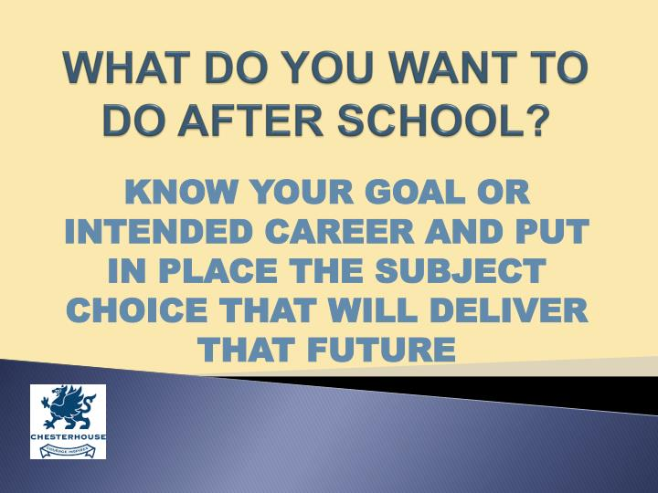 WHAT DO YOU WANT TO DO AFTER SCHOOL?