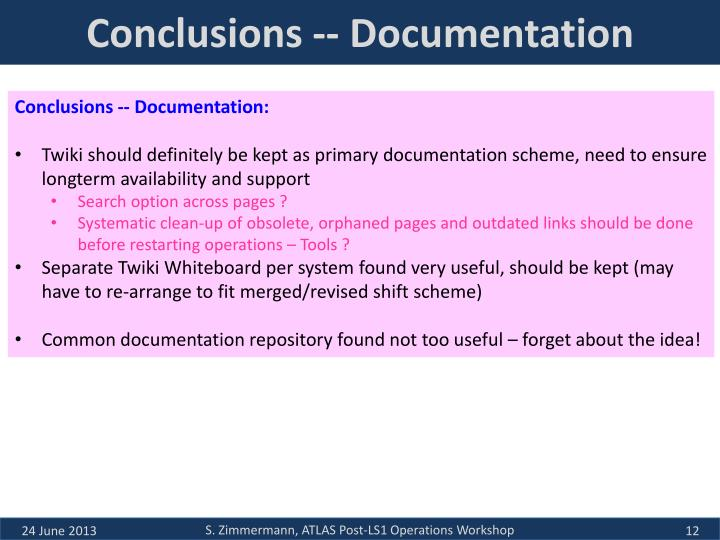 Conclusions -- Documentation