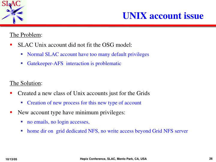 UNIX account issue