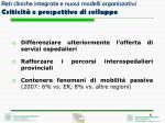 reti cliniche integrate e nuovi modelli organizzativi criticit e prospettive di sviluppo