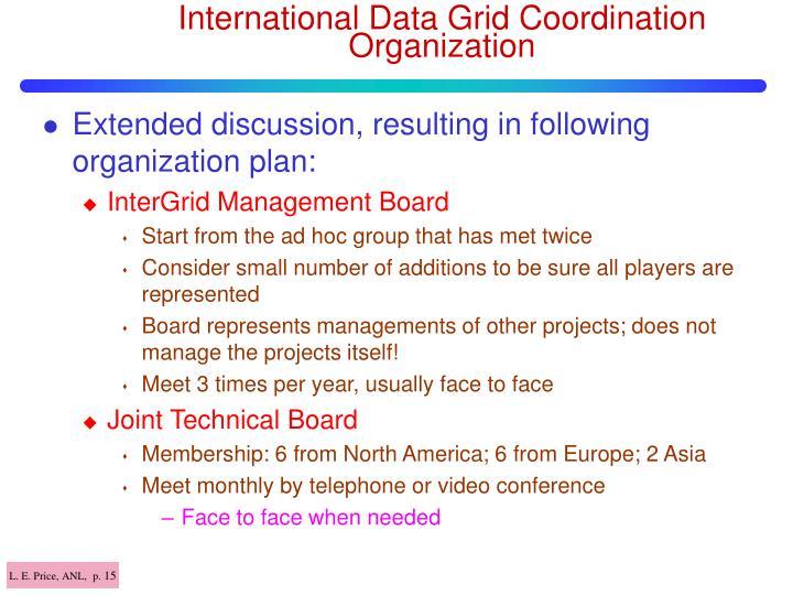 International Data Grid Coordination Organization