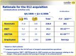 rationale for the 012 acquisition