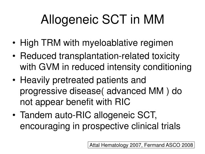 Allogeneic SCT in MM