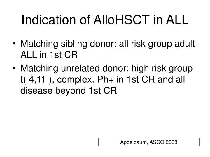Indication of allohsct in all