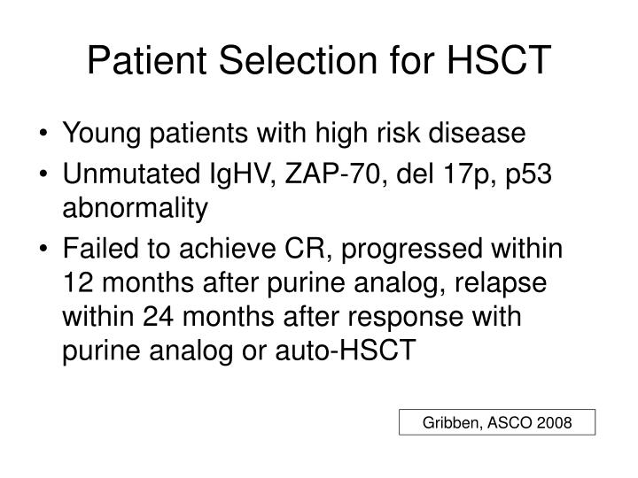 Patient Selection for HSCT