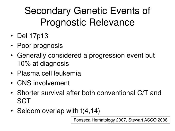 Secondary Genetic Events of Prognostic Relevance