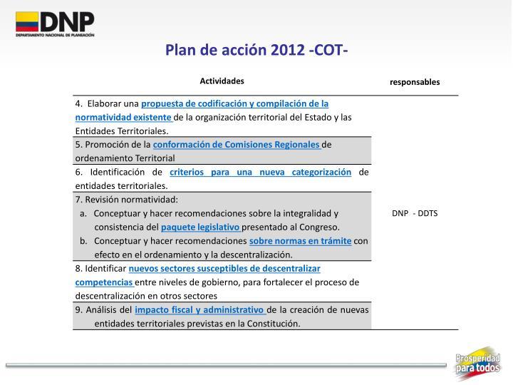 Plan de acción 2012 -COT-