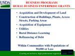 business programs rural business enterprise grants