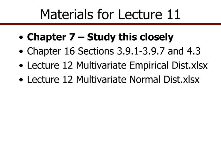 materials for lecture 11 n.