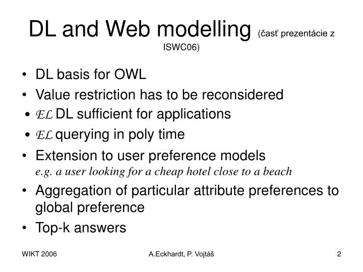 Dl and web modelling as prezent cie z iswc06