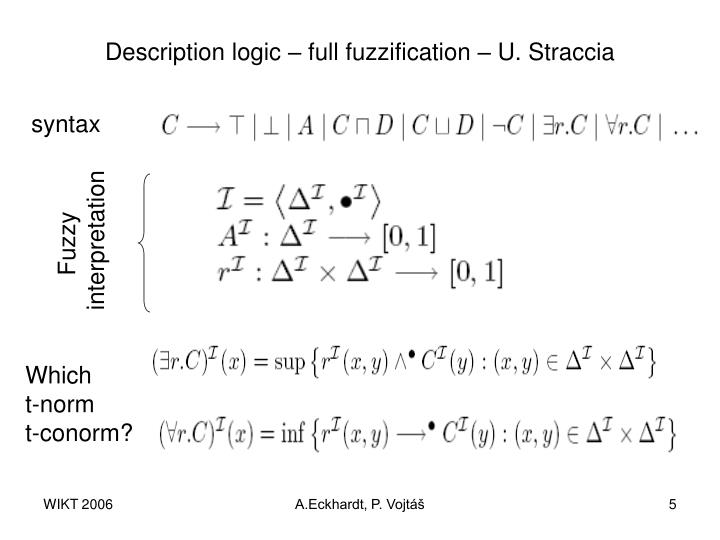 Description logic – full fuzzification – U. Straccia