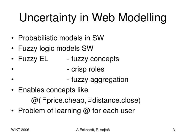 Uncertainty in web modelling