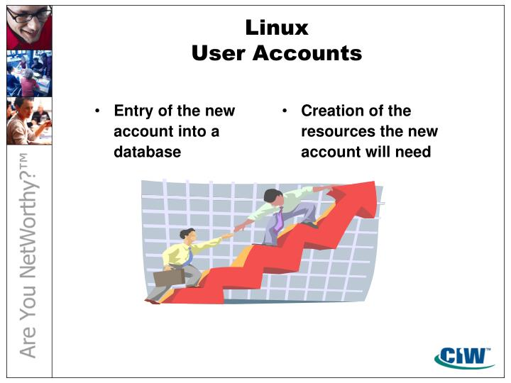 Entry of the new account into a database