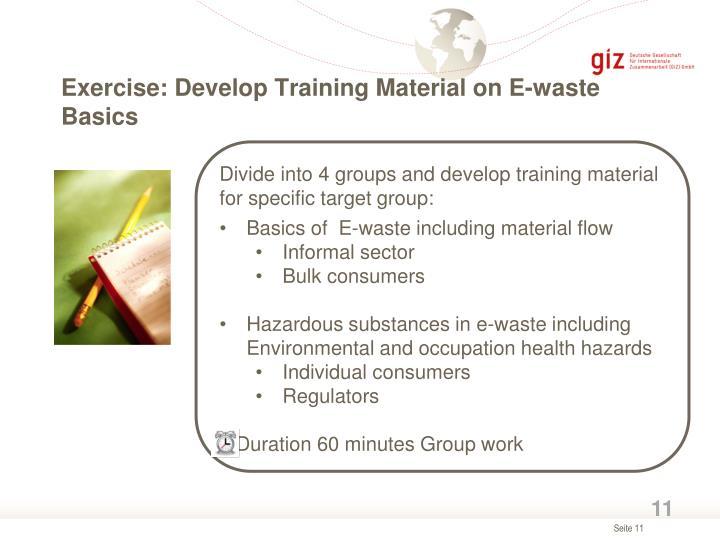 Exercise: Develop Training Material on E-waste Basics
