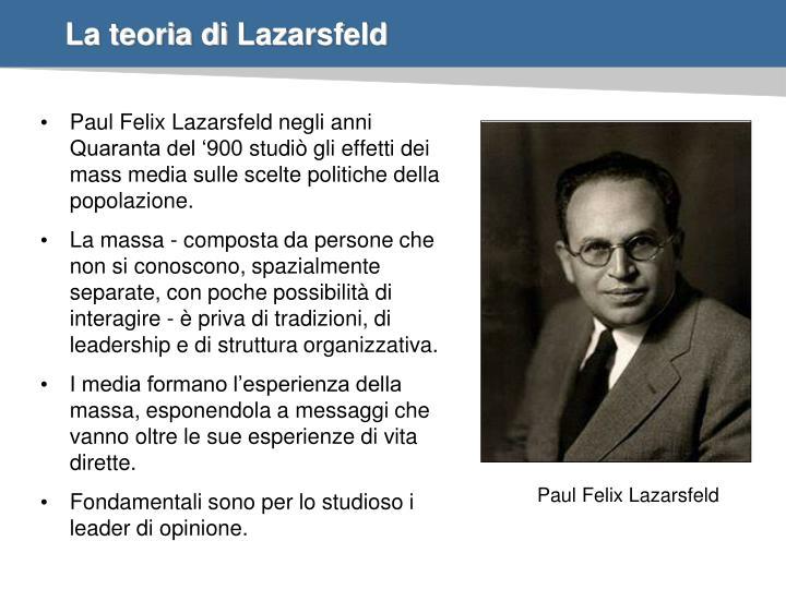 La teoria di lazarsfeld