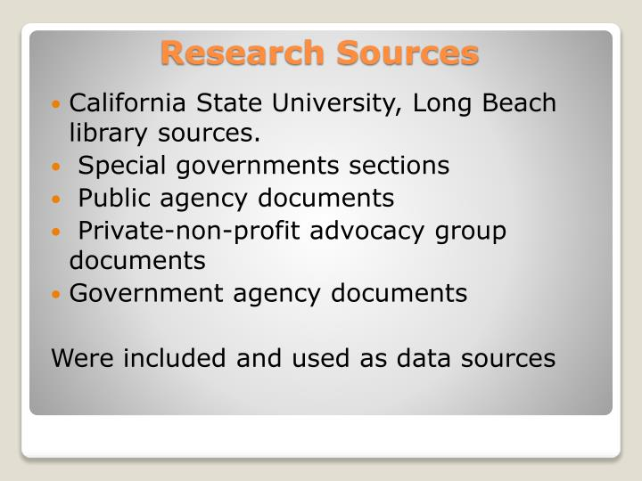 California State University, Long Beach library sources.