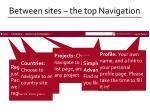 between sites the top navigation