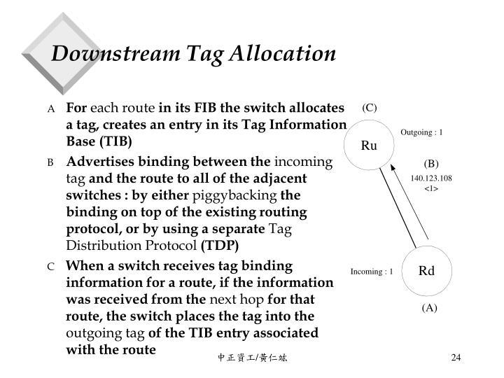 Downstream Tag Allocation