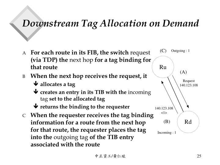 Downstream Tag Allocation on Demand