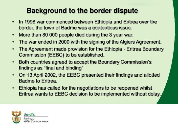 Background to the border dispute