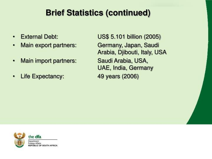 Brief Statistics (continued)