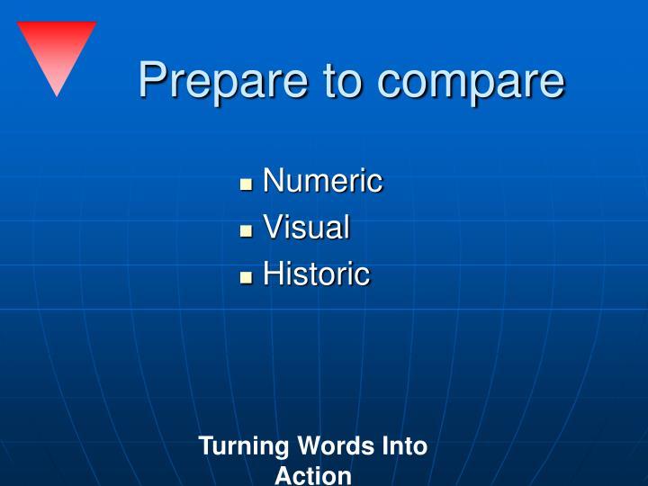 Prepare to compare