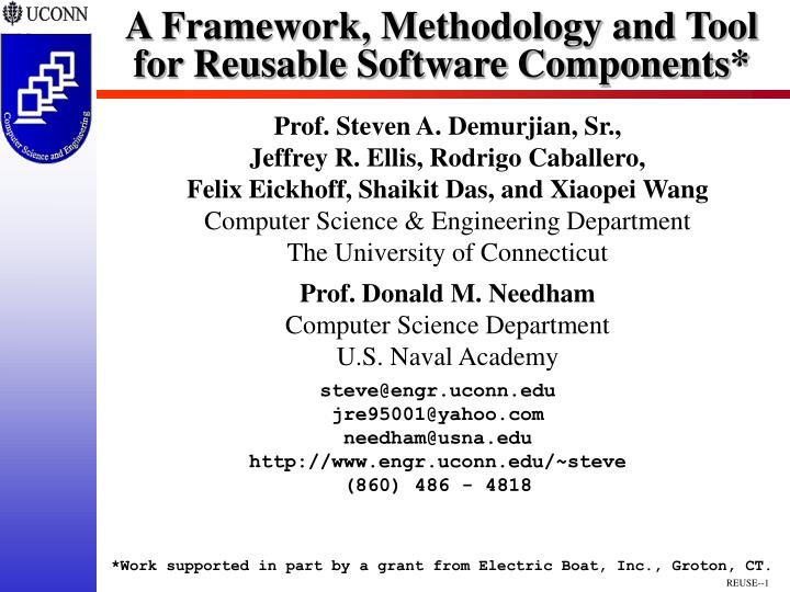 a framework methodology and tool for reusable software components n.