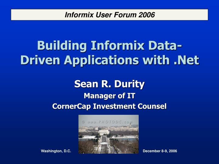 building informix data driven applications with net n.