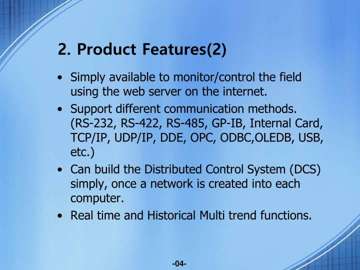 2. Product Features(2)