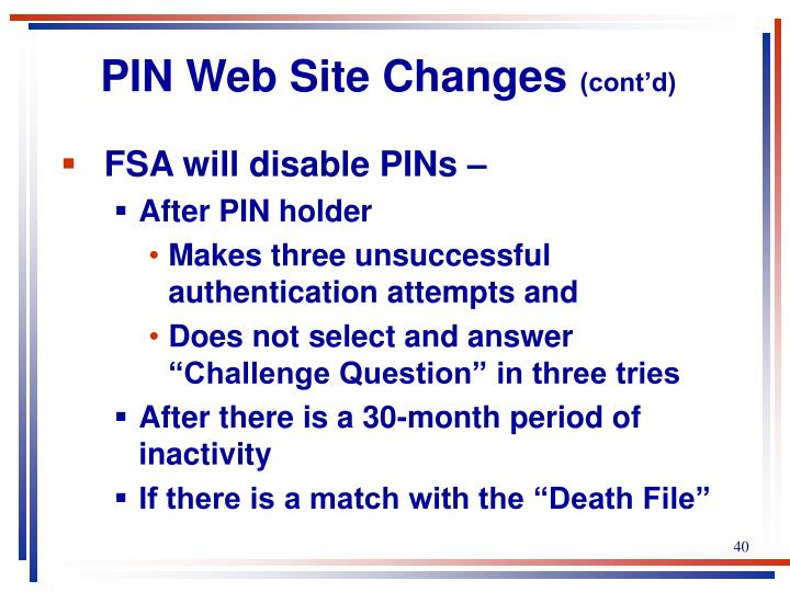 PIN Web Site Changes
