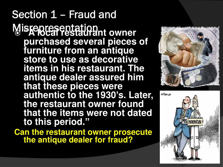 Section 1 – Fraud and Misrepresentation
