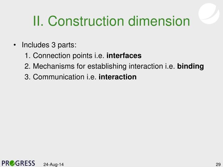 II. Construction dimension