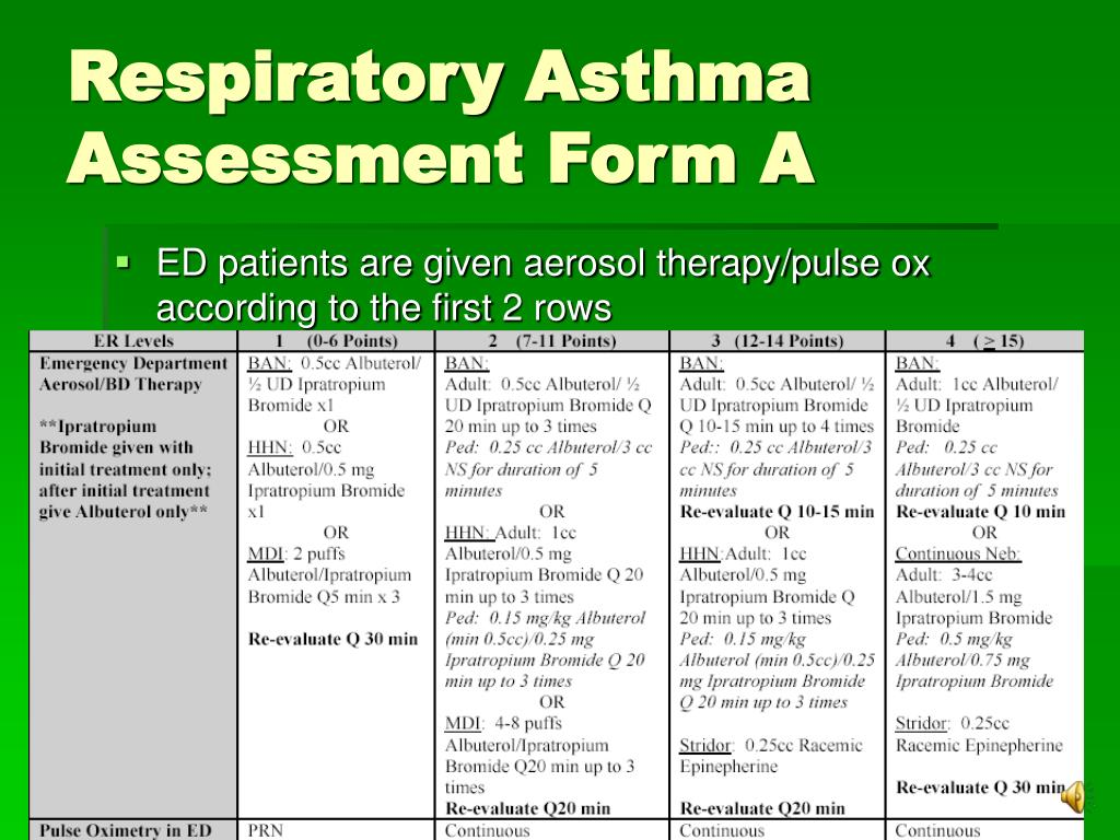 Asthma Assessment Form - Asthma Lung Disease