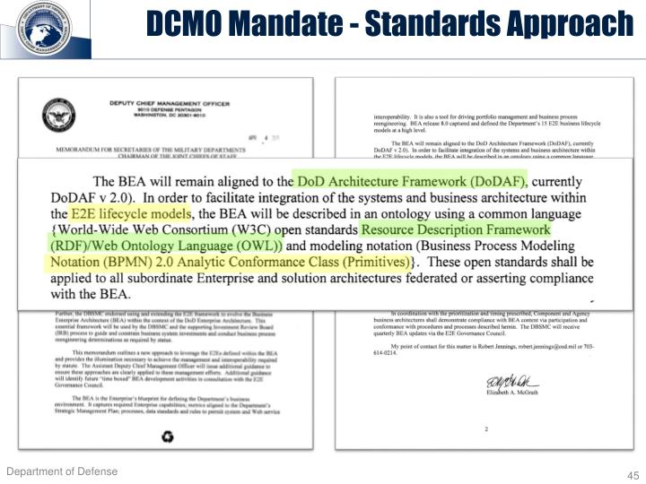 DCMO Mandate - Standards Approach