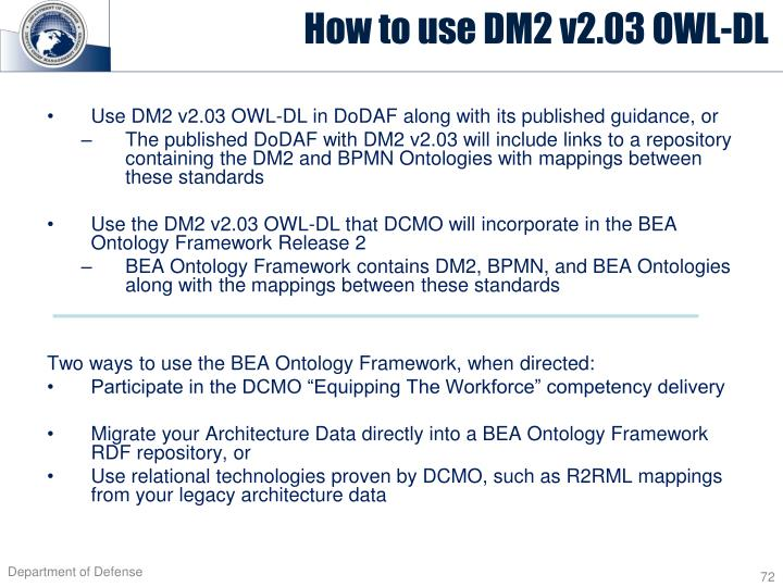 Use DM2 v2.03 OWL-DL in DoDAF along with its published guidance, or