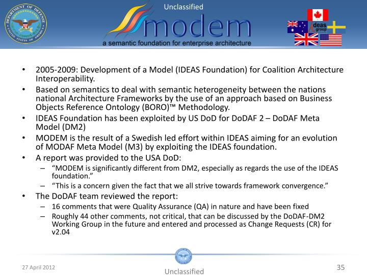 2005-2009: Development of a Model (IDEAS Foundation) for Coalition Architecture Interoperability.