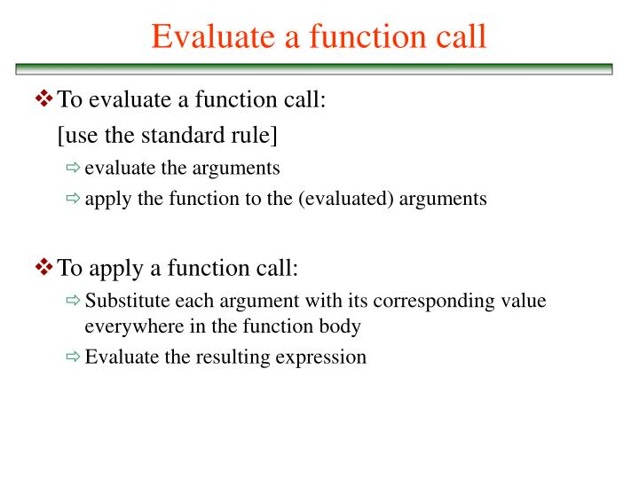Evaluate a function call