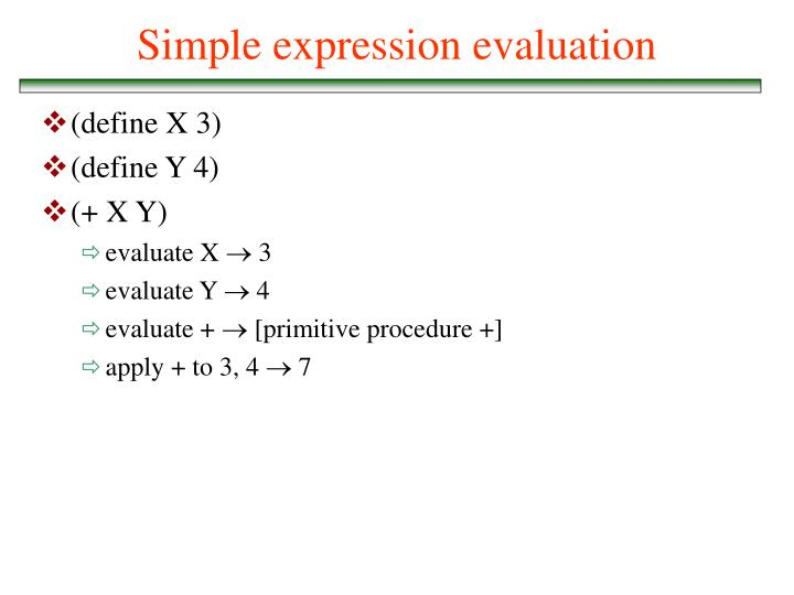 Simple expression evaluation