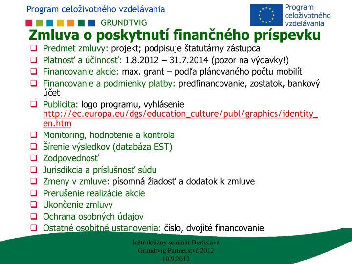 Zmluva o poskytnutí finančného príspevku