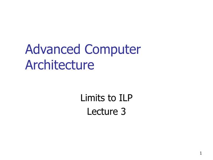 advanced computer architecture n.