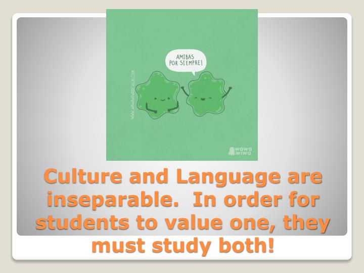 Culture and Language are inseparable.  In order for students to value one, they must study both!