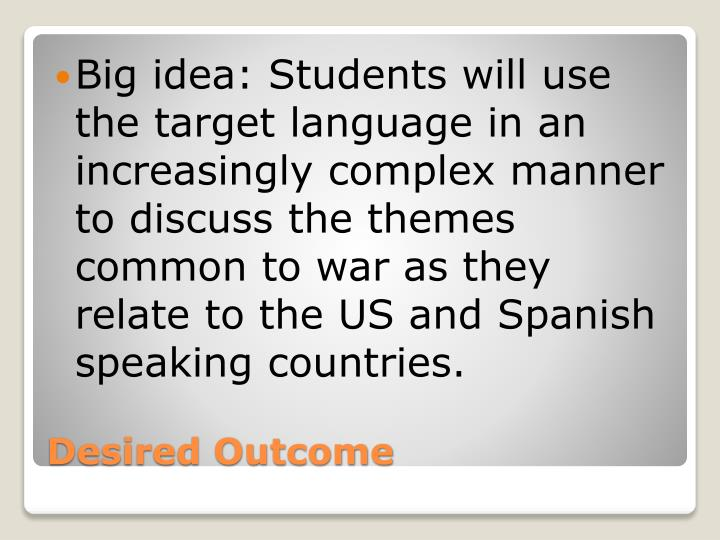 Big idea: Students