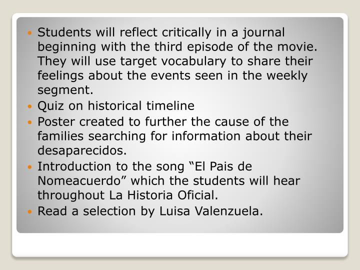 Students will reflect critically in a journal beginning with the third episode of the movie.  They will use target vocabulary to share their feelings about the events seen in the weekly segment.