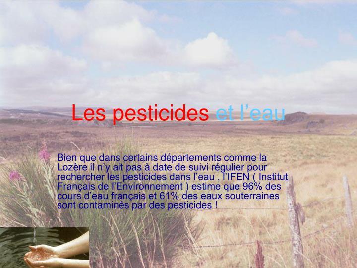Les pesticides et l eau