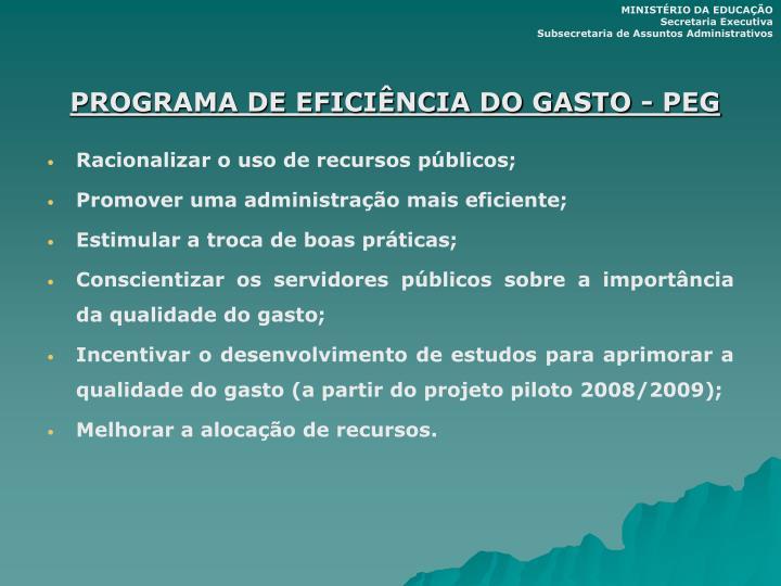 PROGRAMA DE EFICIÊNCIA DO GASTO - PEG