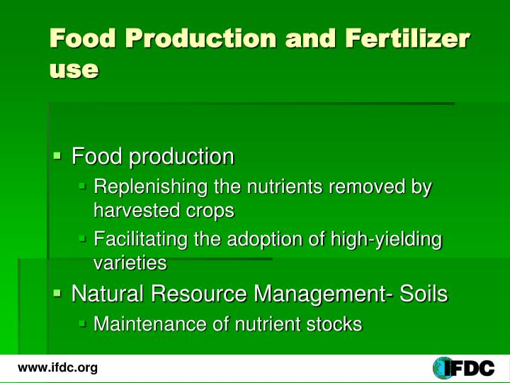 Food production and fertilizer use