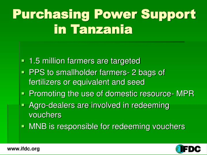 Purchasing Power Support       in Tanzania